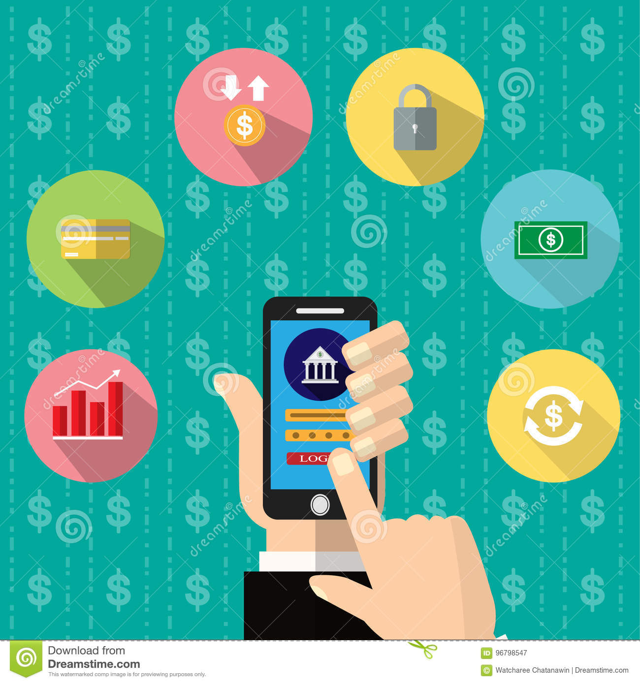 Mobile Banking App On Smartphone Screen  Financial App