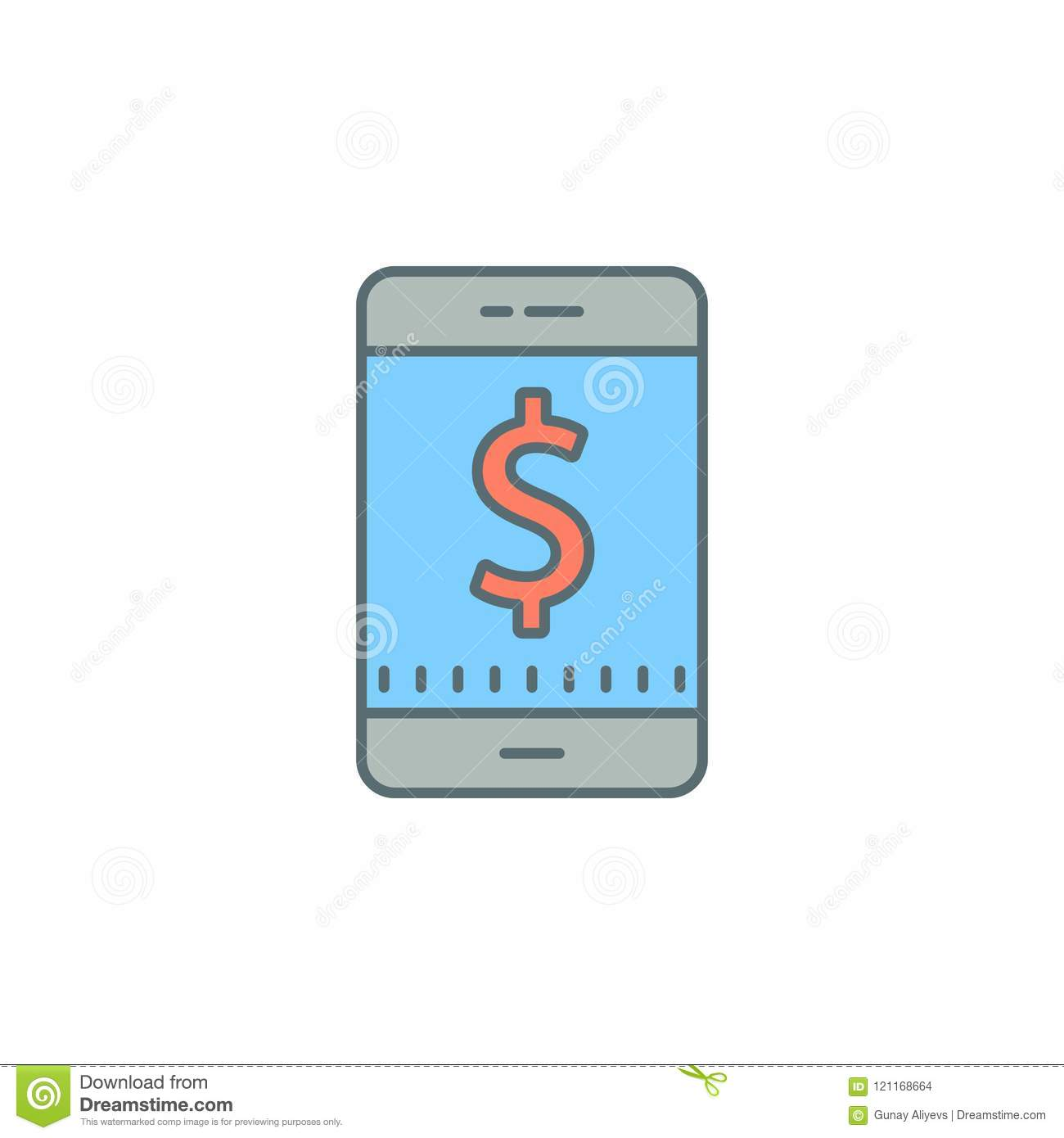 Mobile Banking Dusk Style Line Icon  Element Of Banking Icon For