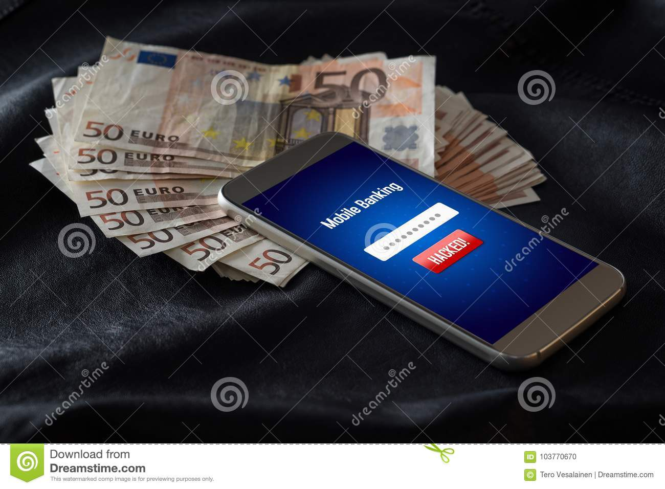 Mobile Banking Hack And Cyber Security Concept  Stock Photo