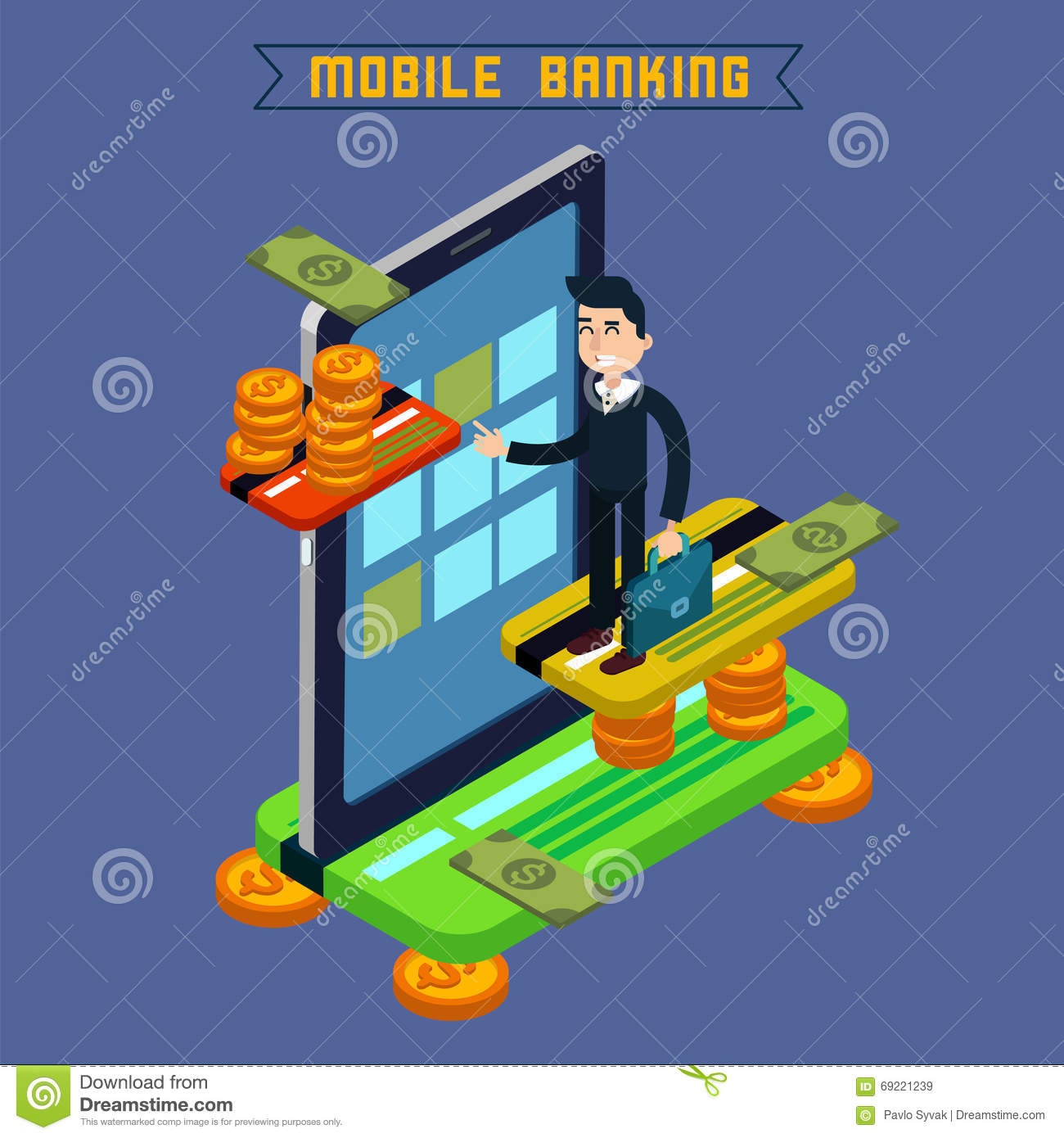Mobile Banking. Isometric Concept. Online Payment. Mobile Payment