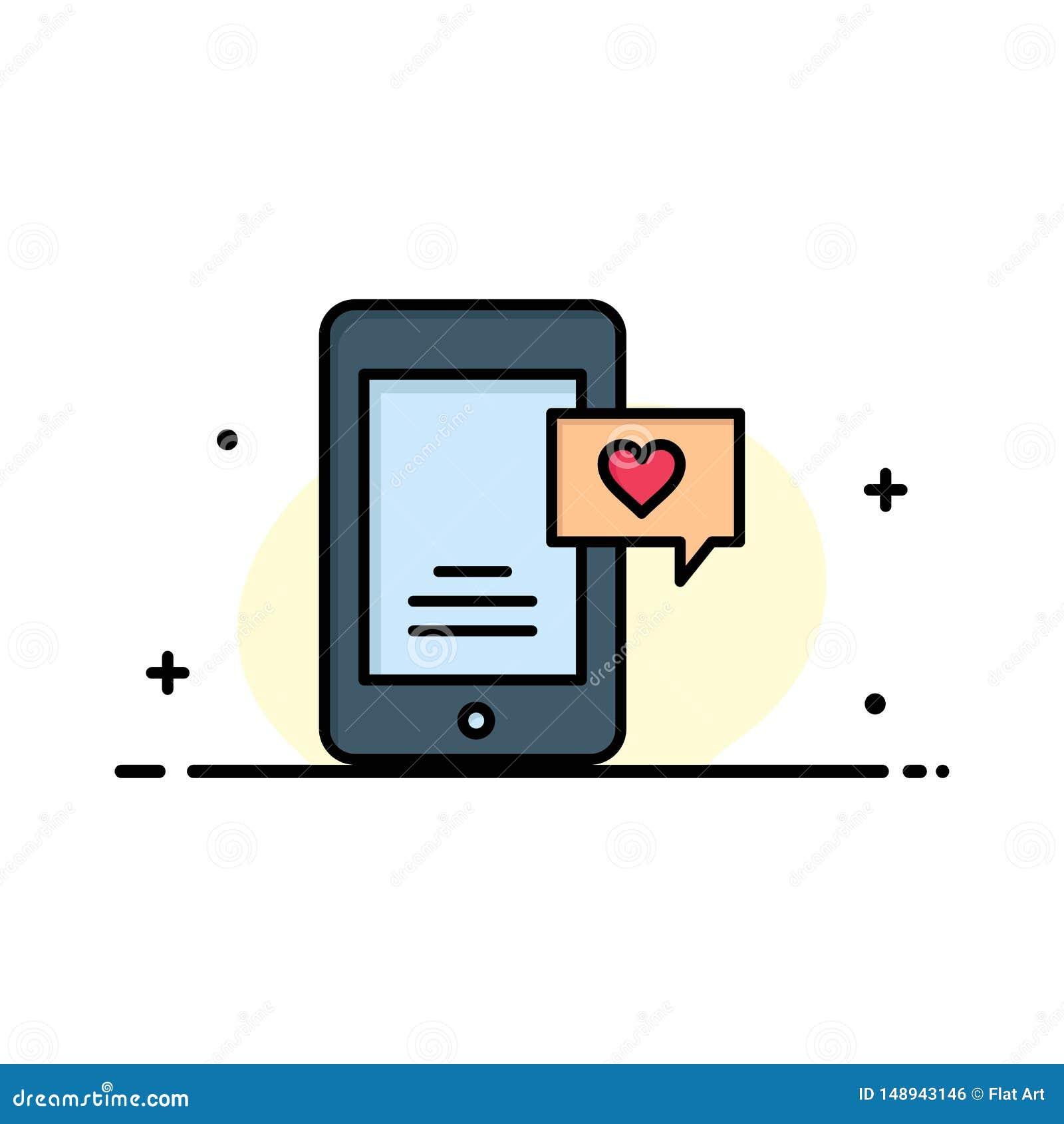 Mobile, causerie, bulle de causerie, affaires Logo Template de causerie d amour couleur plate