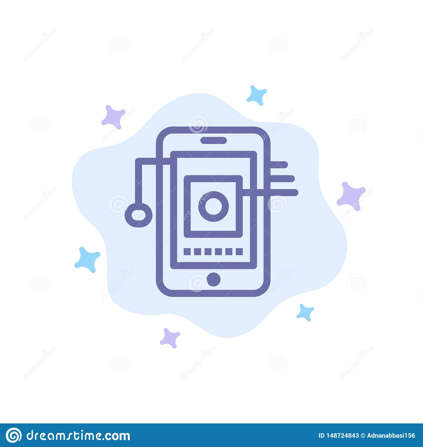 Mobile, Cell, Hardware, Network Blue Icon on Abstract Cloud Background
