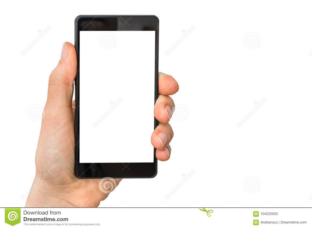 Mobile cell phone with blank white screen in female hand