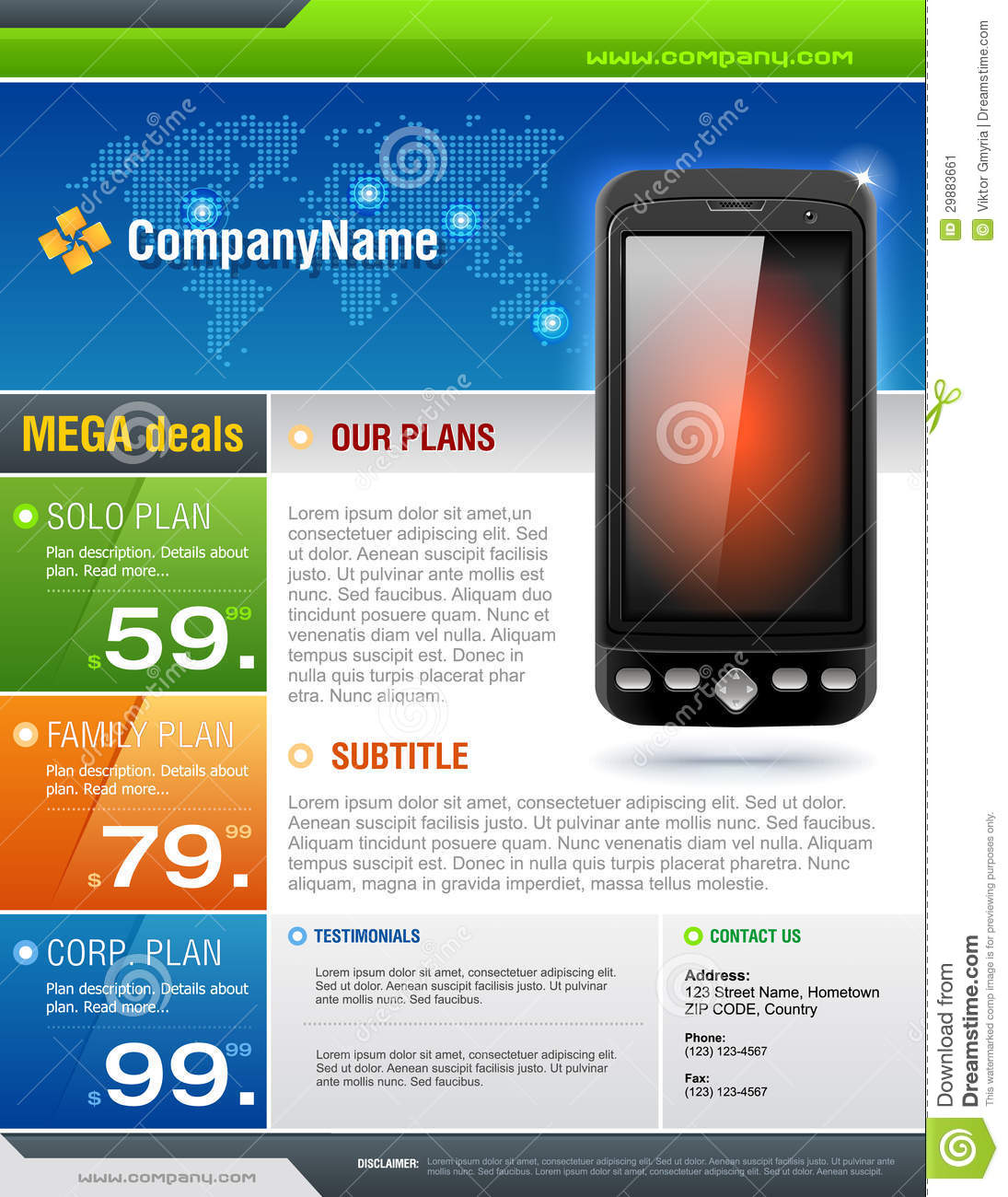 mobile cell smart phone telecom provider flyer vec stock