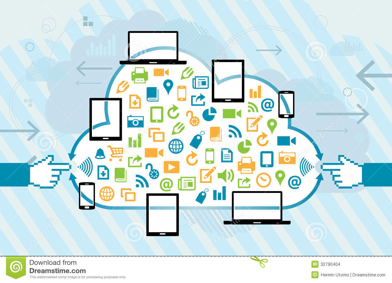 Mobile Technology: Mobile Cloud Connection Stock Vector. Illustration Of User