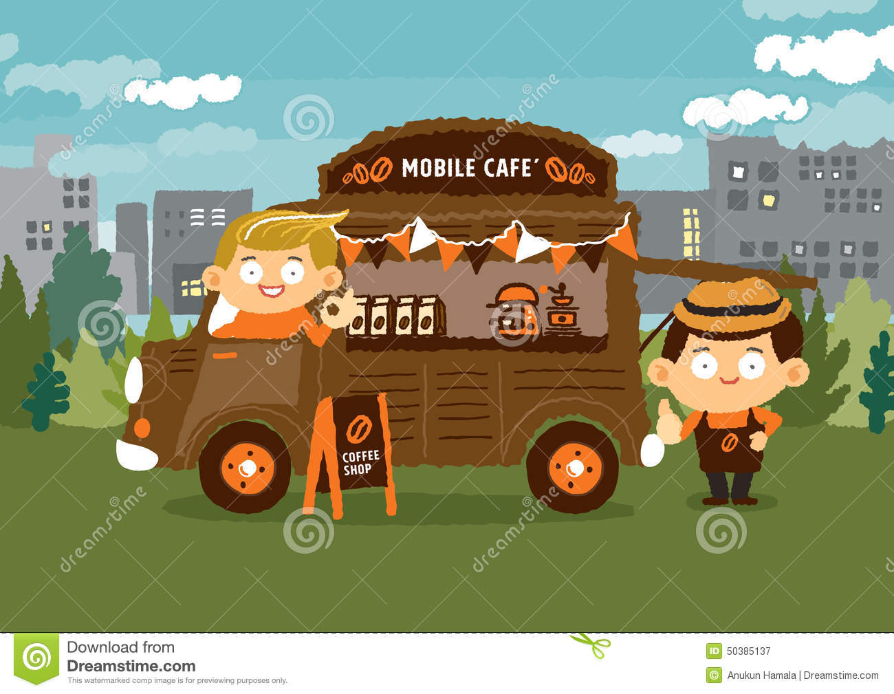 Mobile Coffee Shop Van Cafe Concepts Stock Vector Illustration Of Banner Retro 50385137