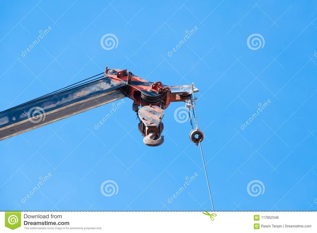 Mobile Crane Boom With Hook Hanging By Wire Cable Background Blue ...