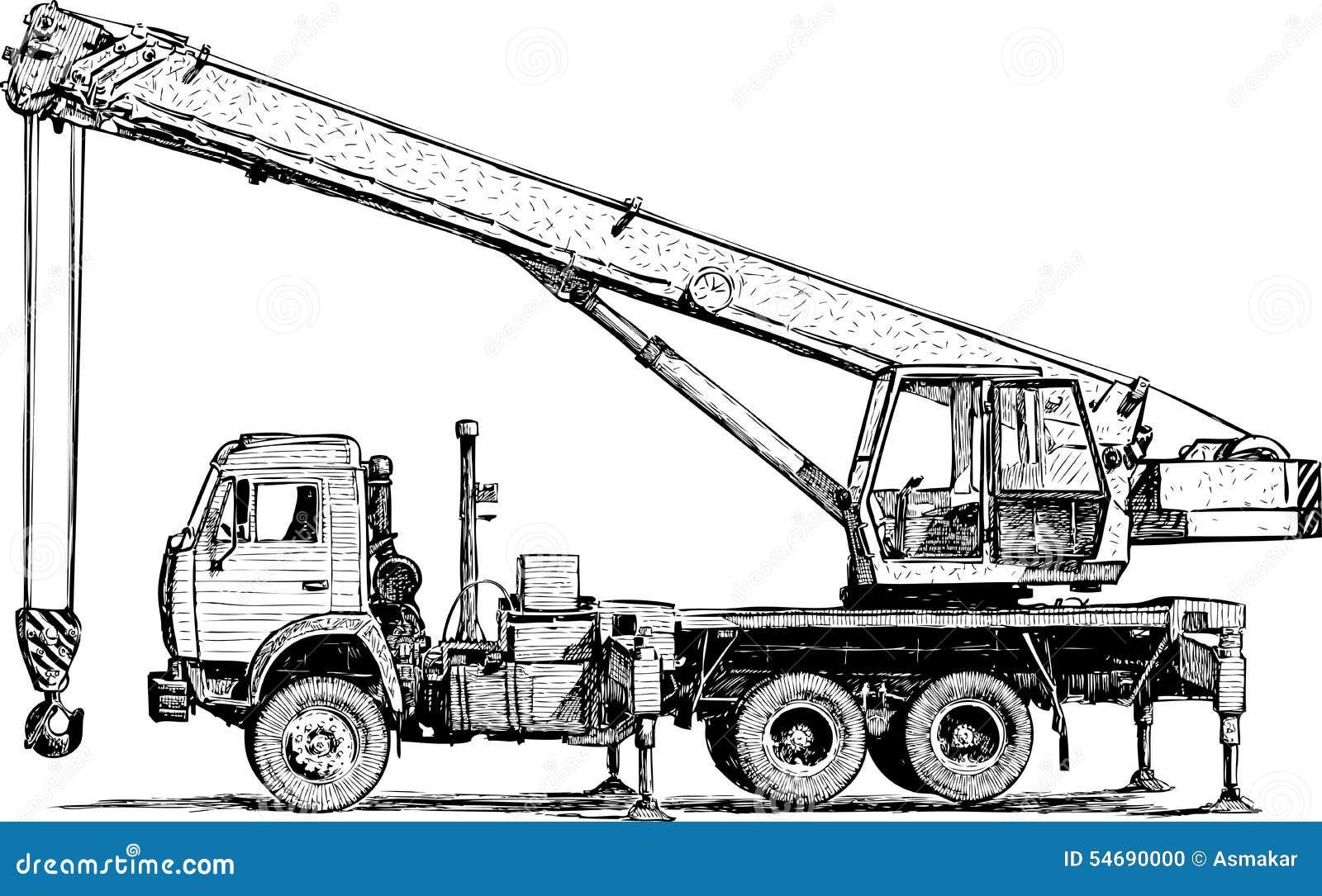 Mobile crane stock vector illustration of transportation - Dessin de grue ...