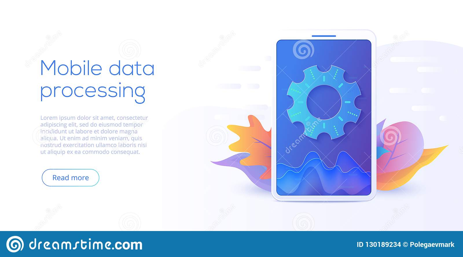 Mobile data processing technology in isometric vector illustration. Information storage and analysis system. Digital technology w