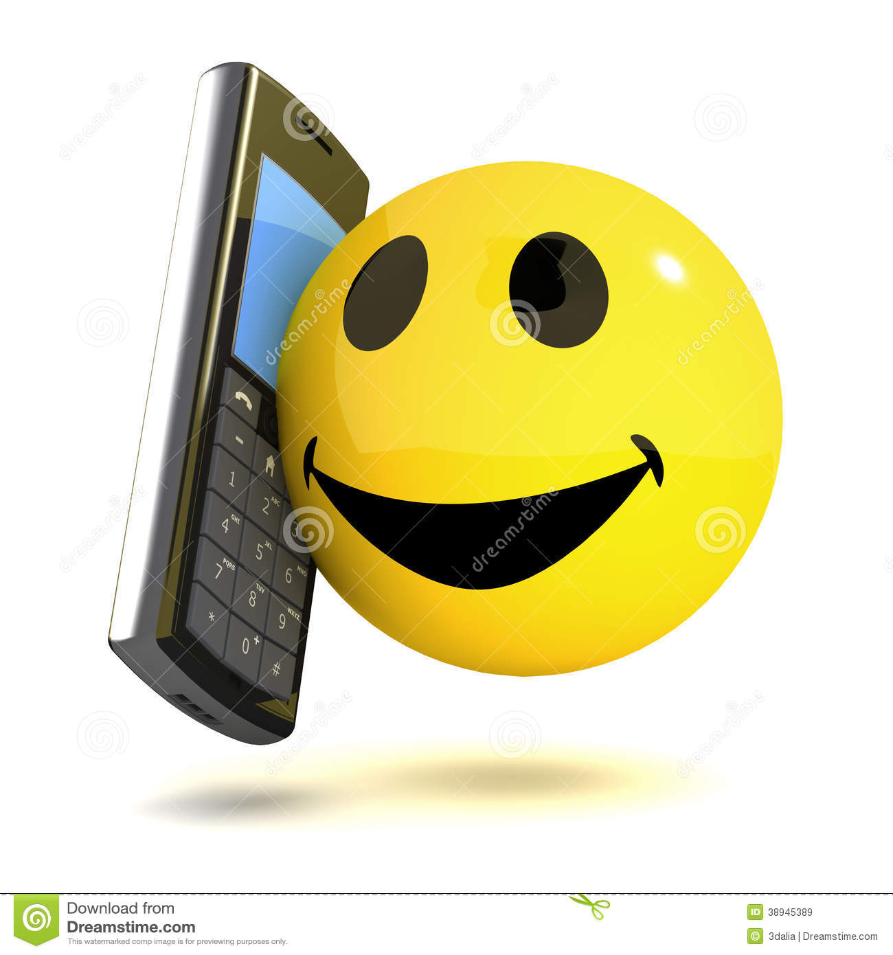 Mobile Des Smiley 3d Stock Abbildung Illustration Von Positiv