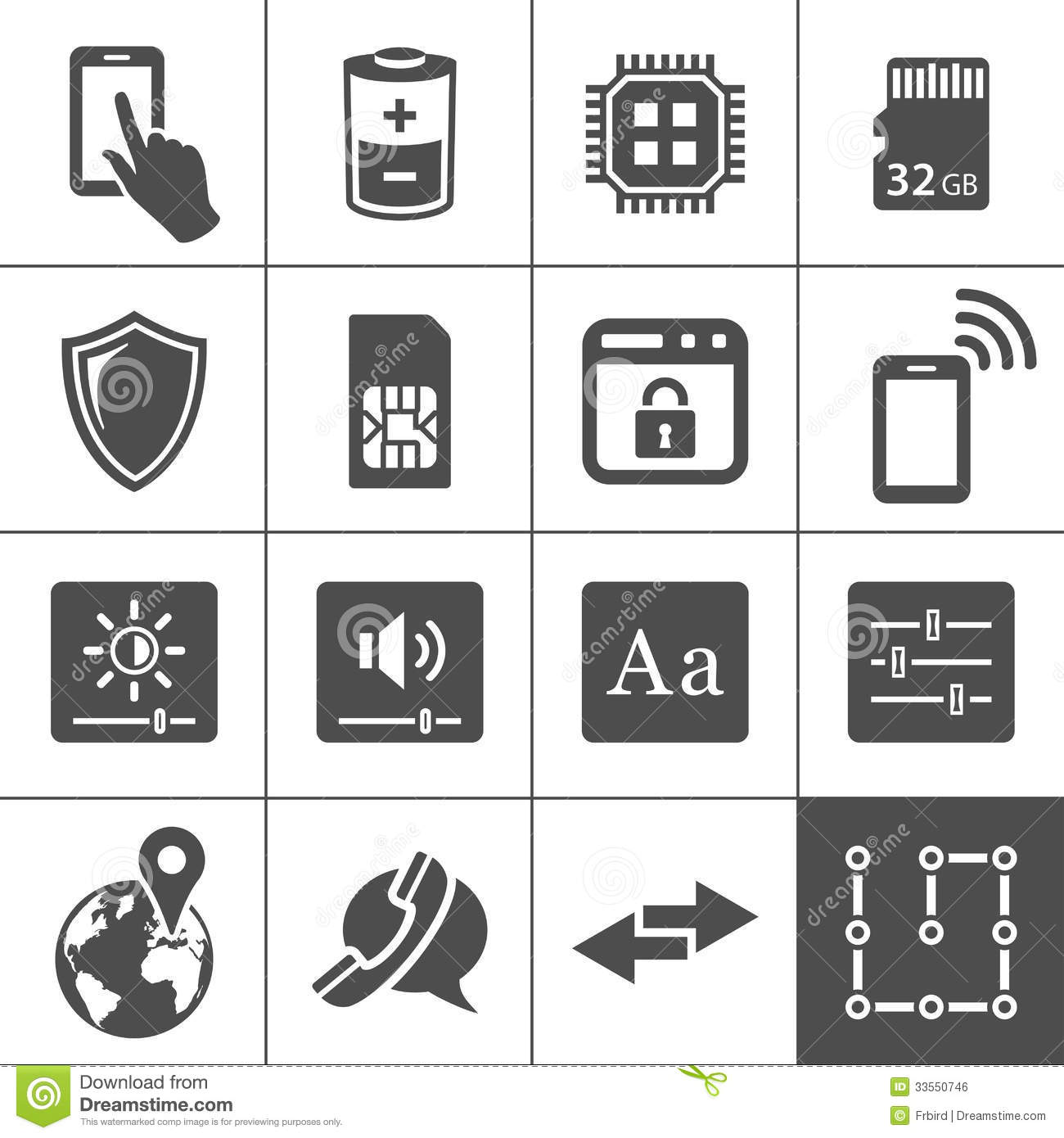 Mobile Device Settings Icons Stock Vector Illustration