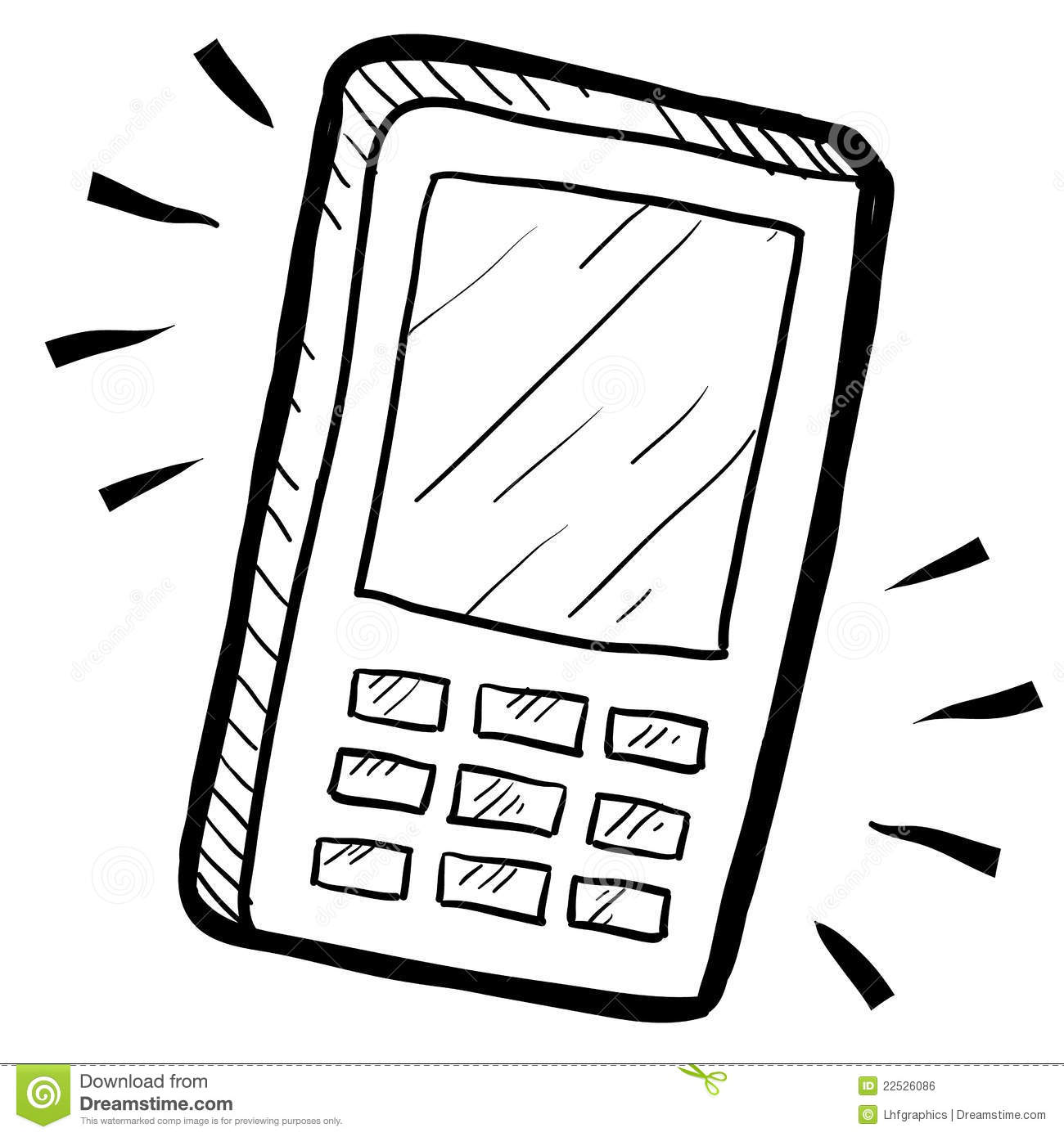 mobile device or smartphone sketch royalty free stock image