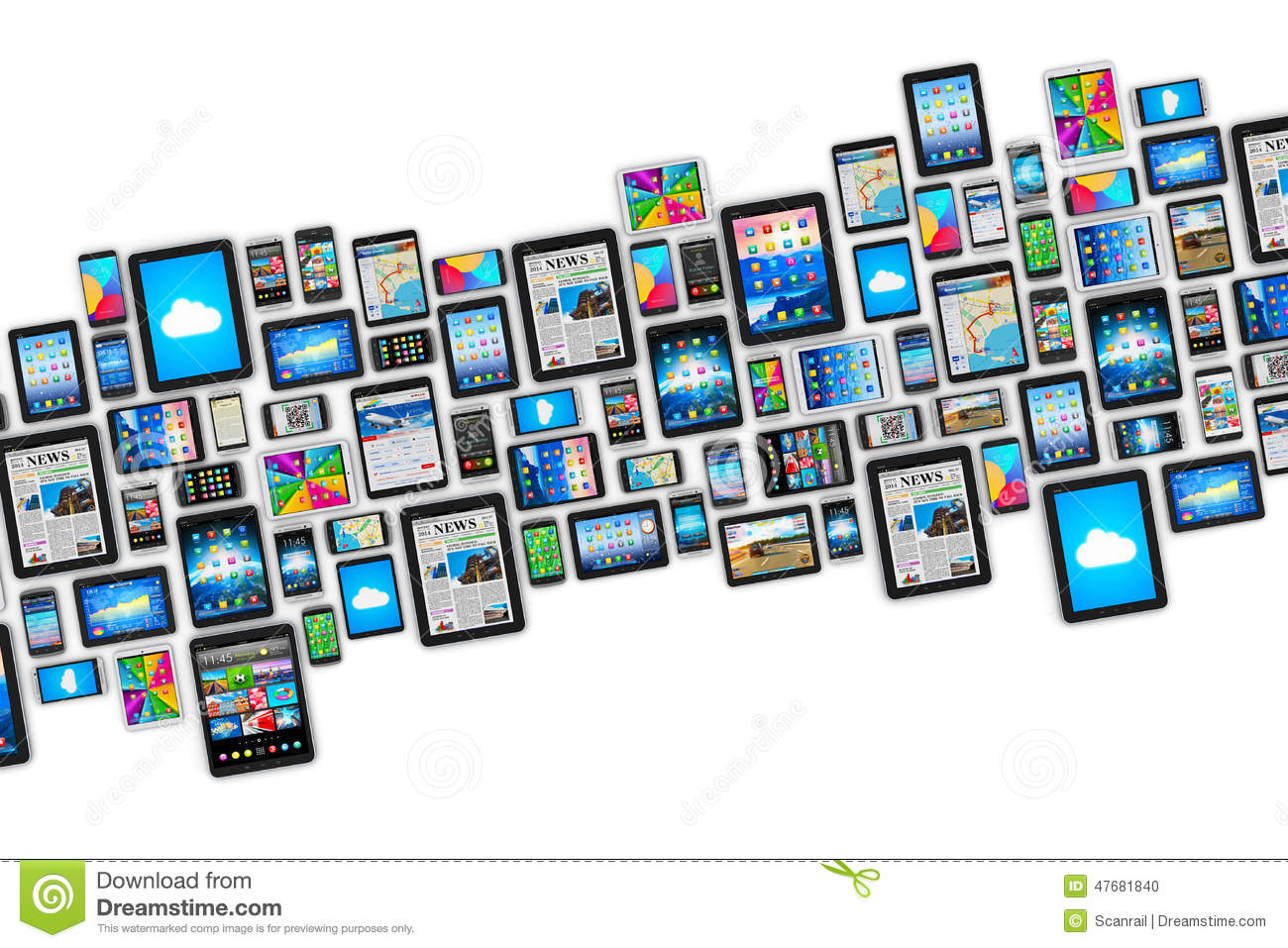 devices digital mobile technology computer communication wireless mobility creative business abstract illustration