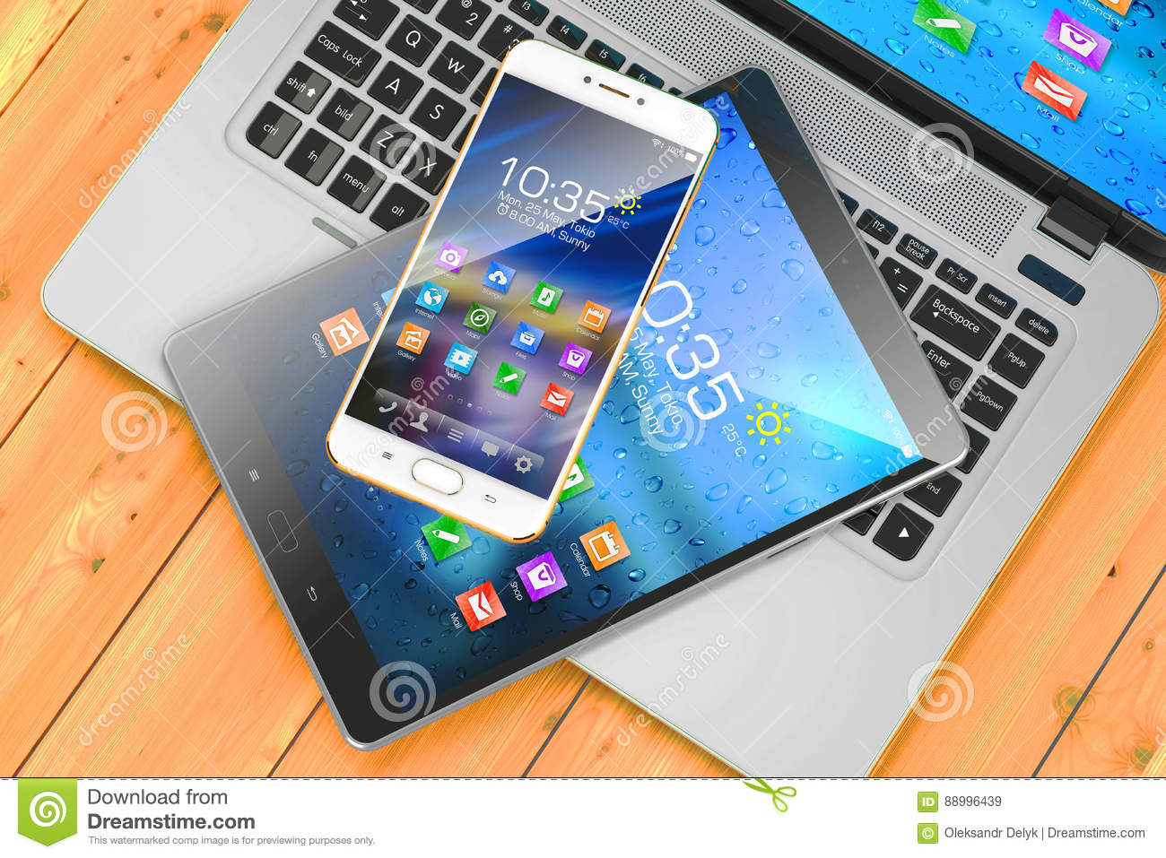 Mobile devices. Laptop, smartphone, pad on wooden table