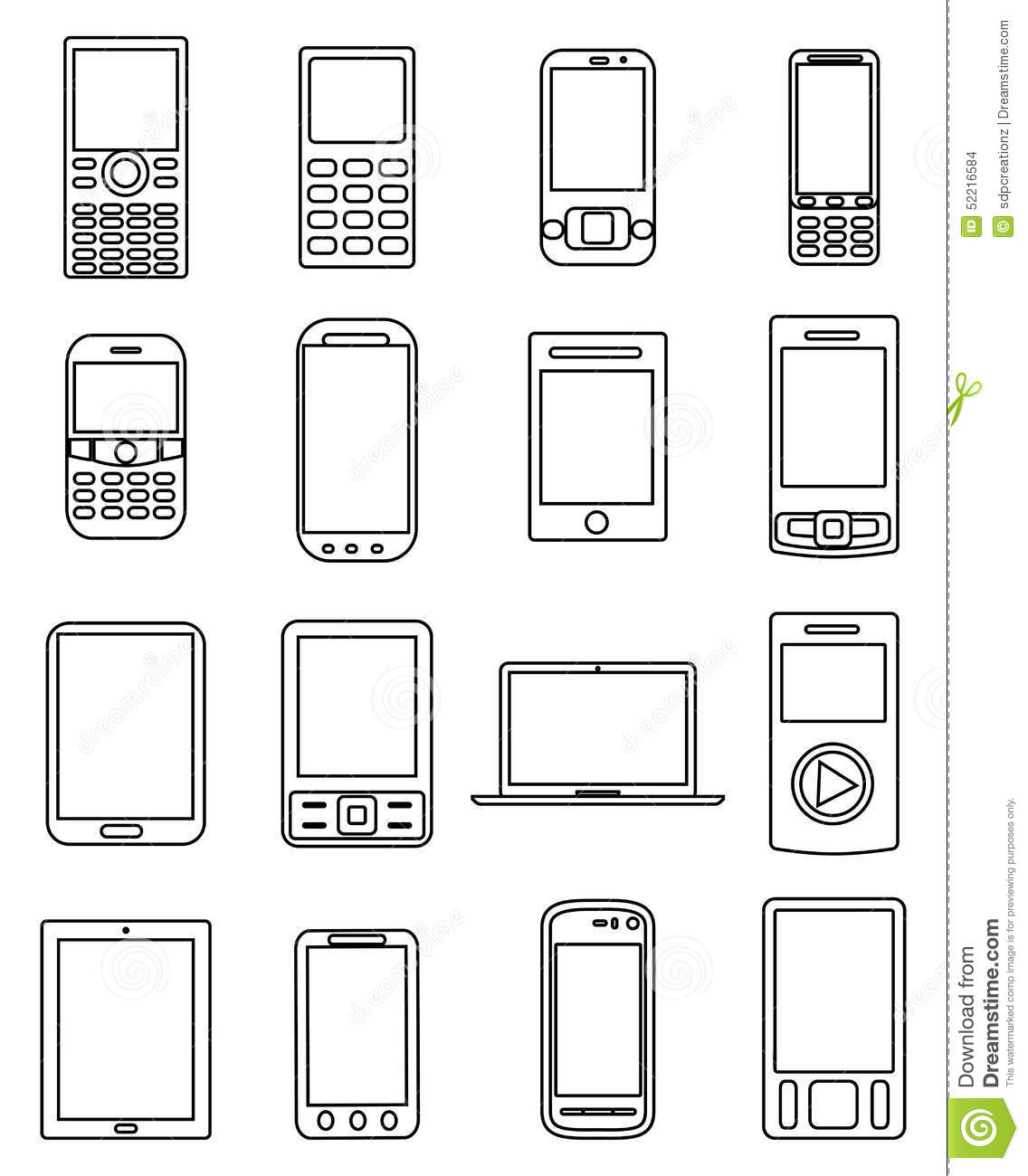 Mobile devices line icons set