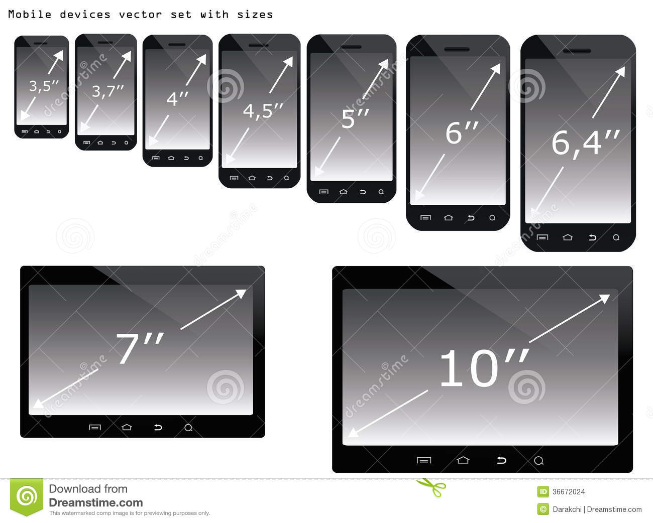 Mobile devices sizes illustration set stock images image for Table th size