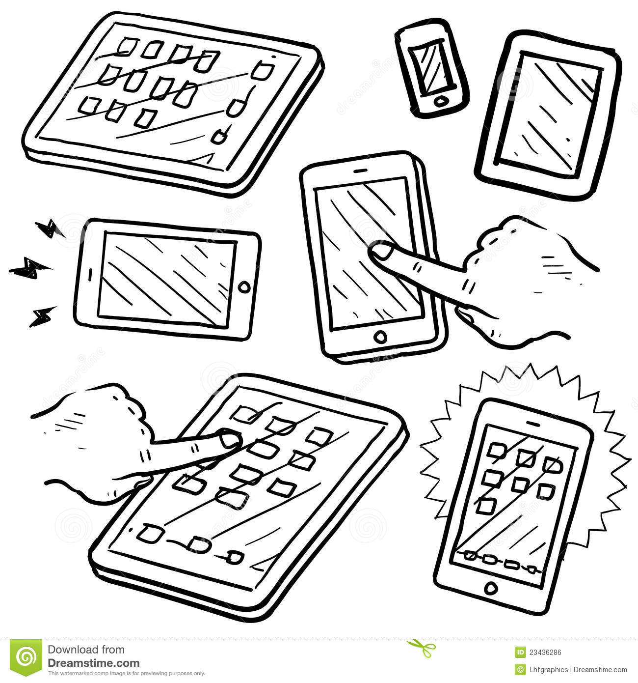 mobile devices sketch royalty free stock image