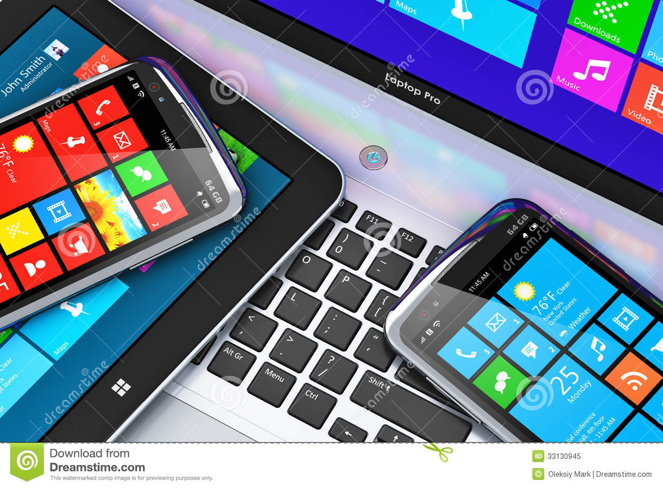 Mobile devices with touchscreen interface royalty free for Modern tech office