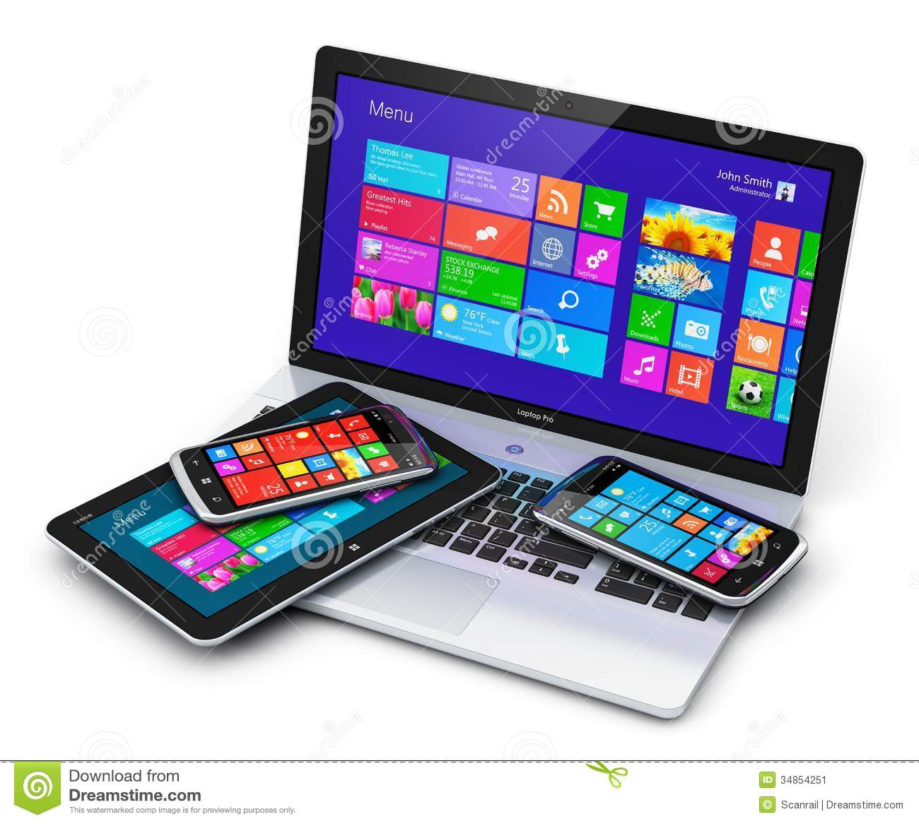 Mobile devices with touchscreen interface stock for Modern tech office