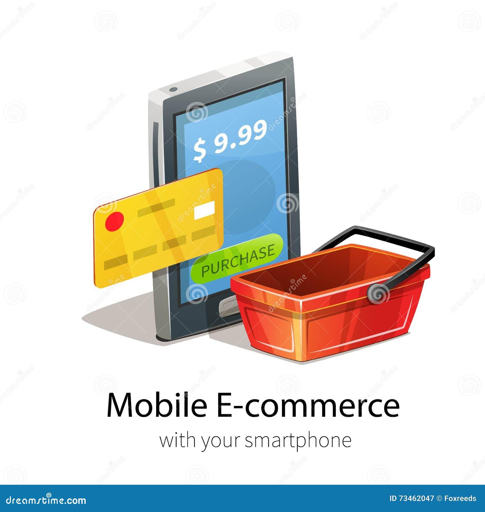 Mobile e commerce concept stock vector image 73462047 for E commerce mobili