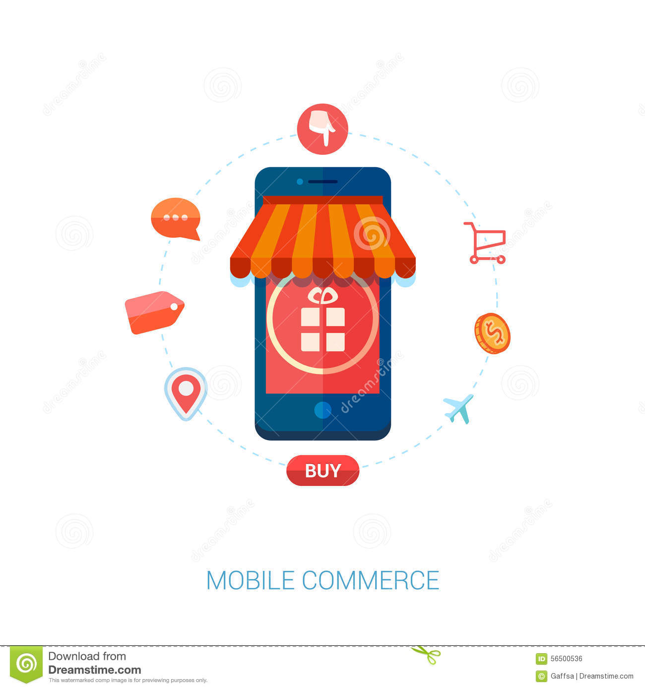 Mobile e commerce and local shop flat icon stock vector for Shopping online mobili