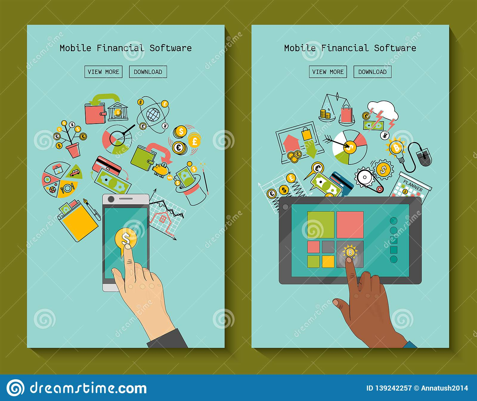 Mobile financial software for phone and tablet banners vector illustration. Risk management. Corporate finance