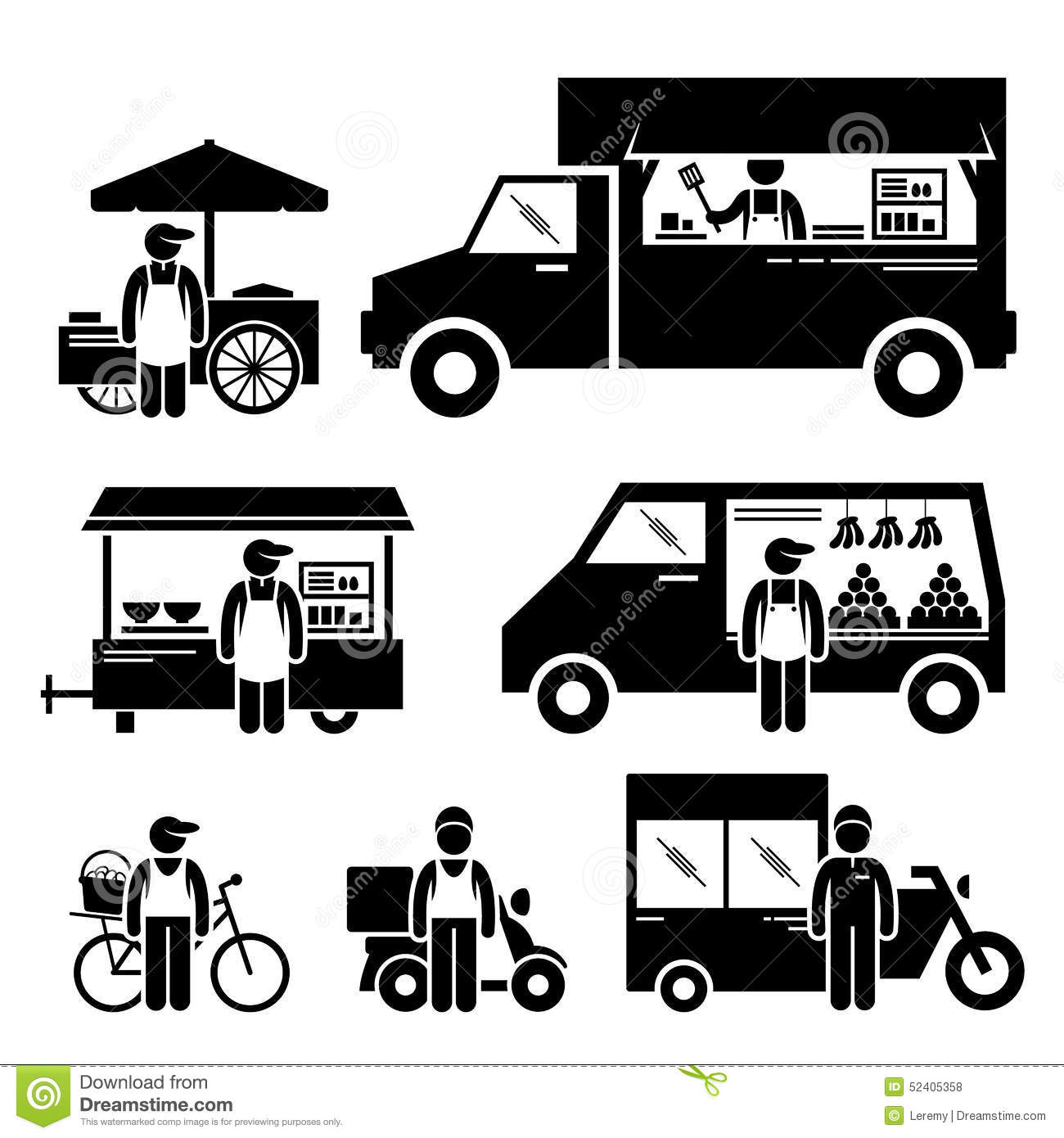 mobile food vehicles cliparts stock vector