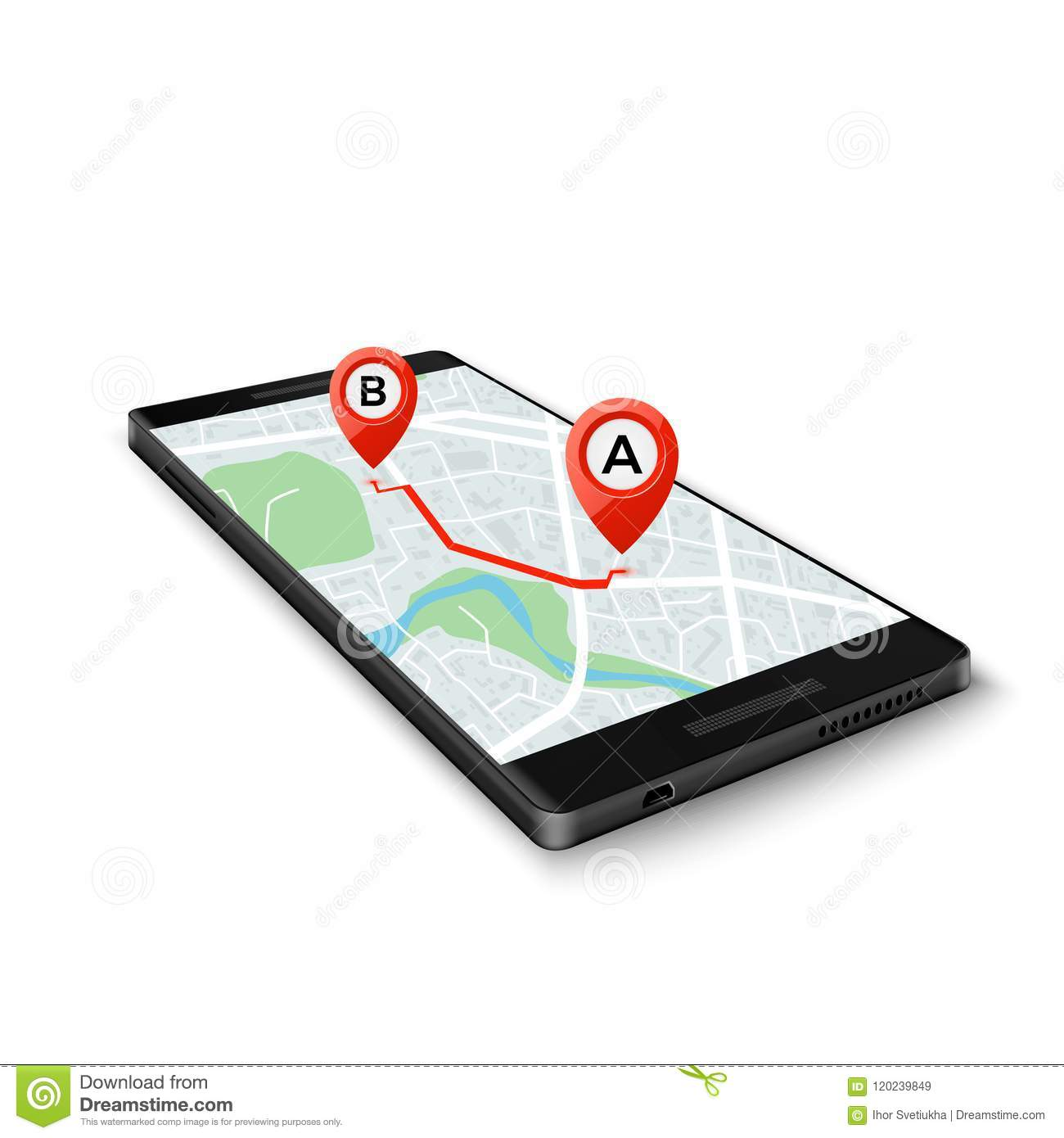 Mobile GPS system concept. Mobile GPS app interface. Map on phone screen with route markers. Vector illustration