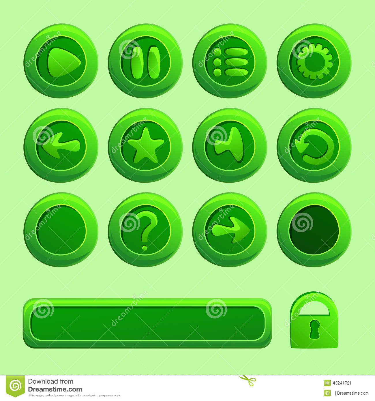 Mobile Green Vector Elements For Ui Game Stock Vector ...