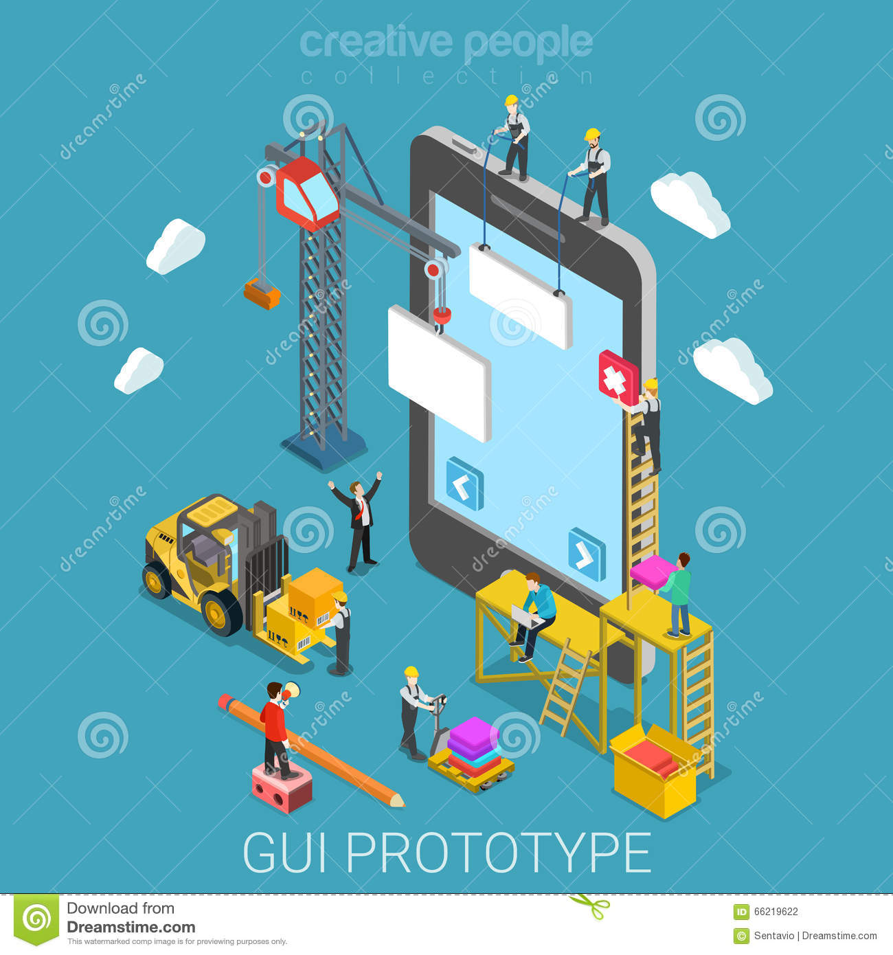Mobile gui prototype app development flat isometric vector for House construction app