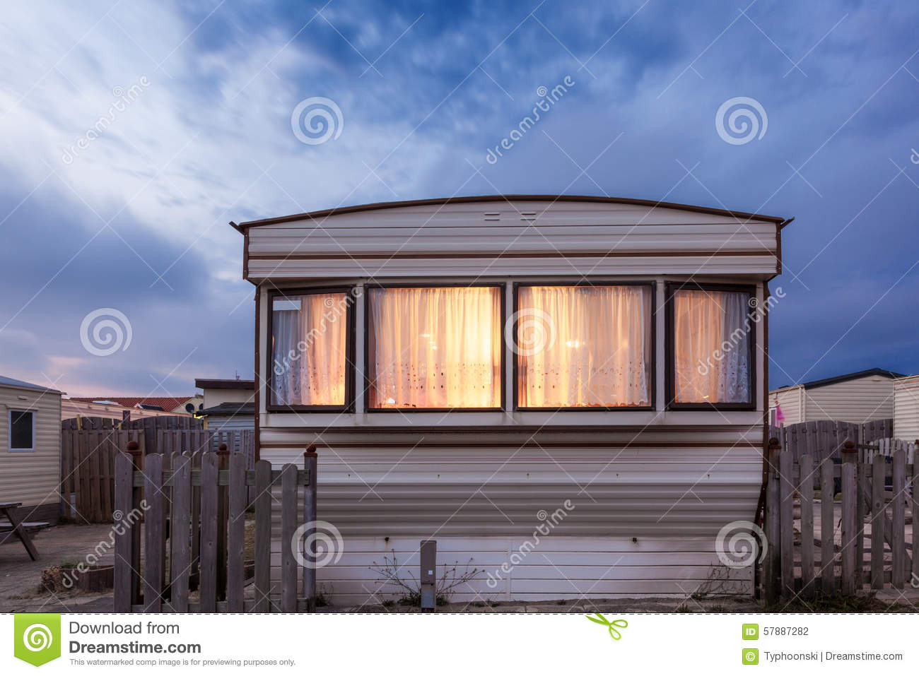 Mobile Home On A Trailer Park At Dusk Stock Photo Image
