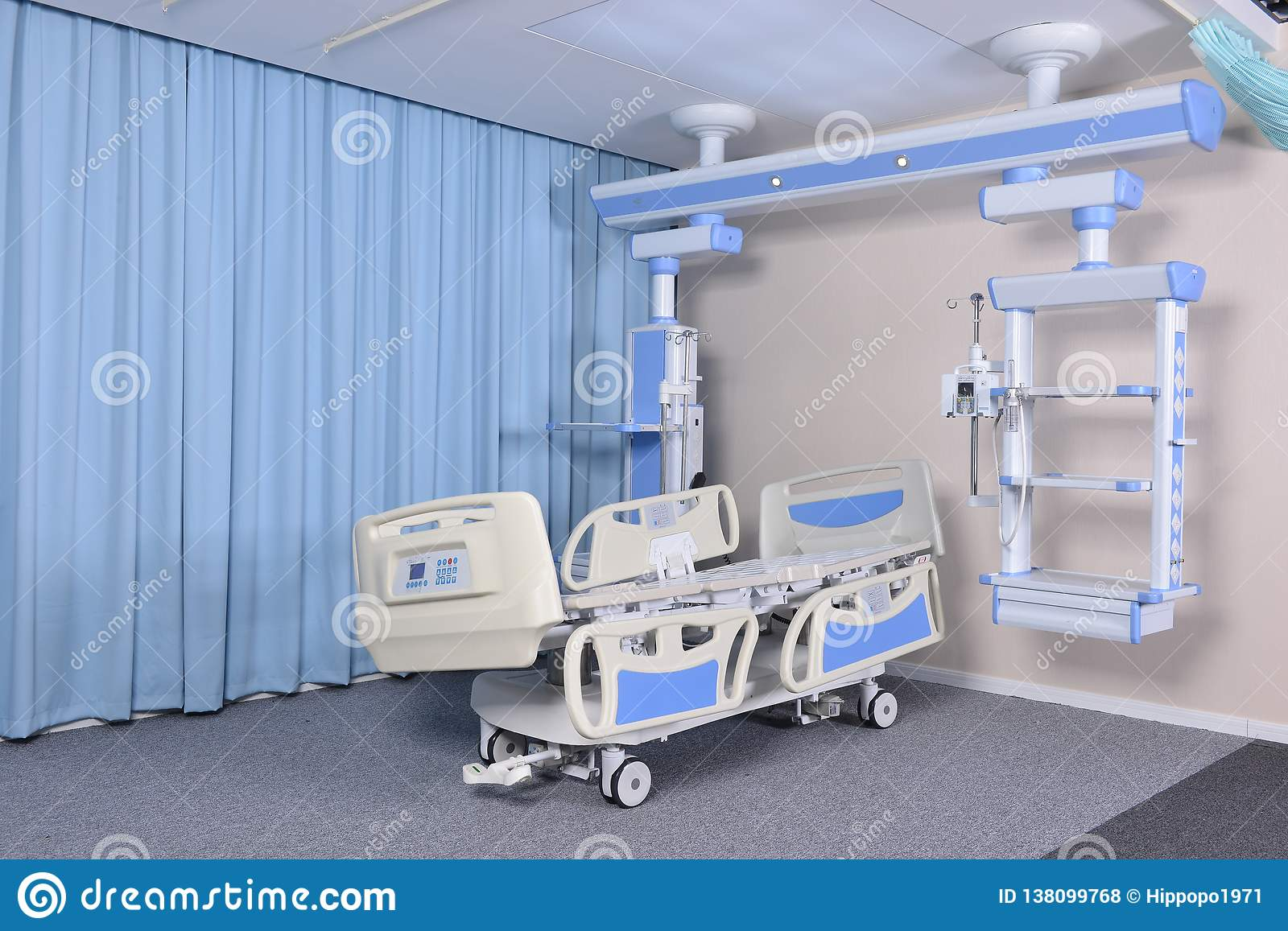 Mobile Hospital Bed Under The White Background  Stock Photo
