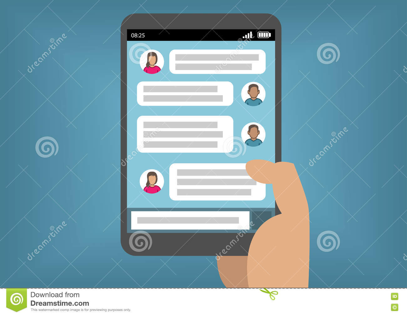 Instant Message Cartoon : Mobile instant messenger chat d flat isometric vector