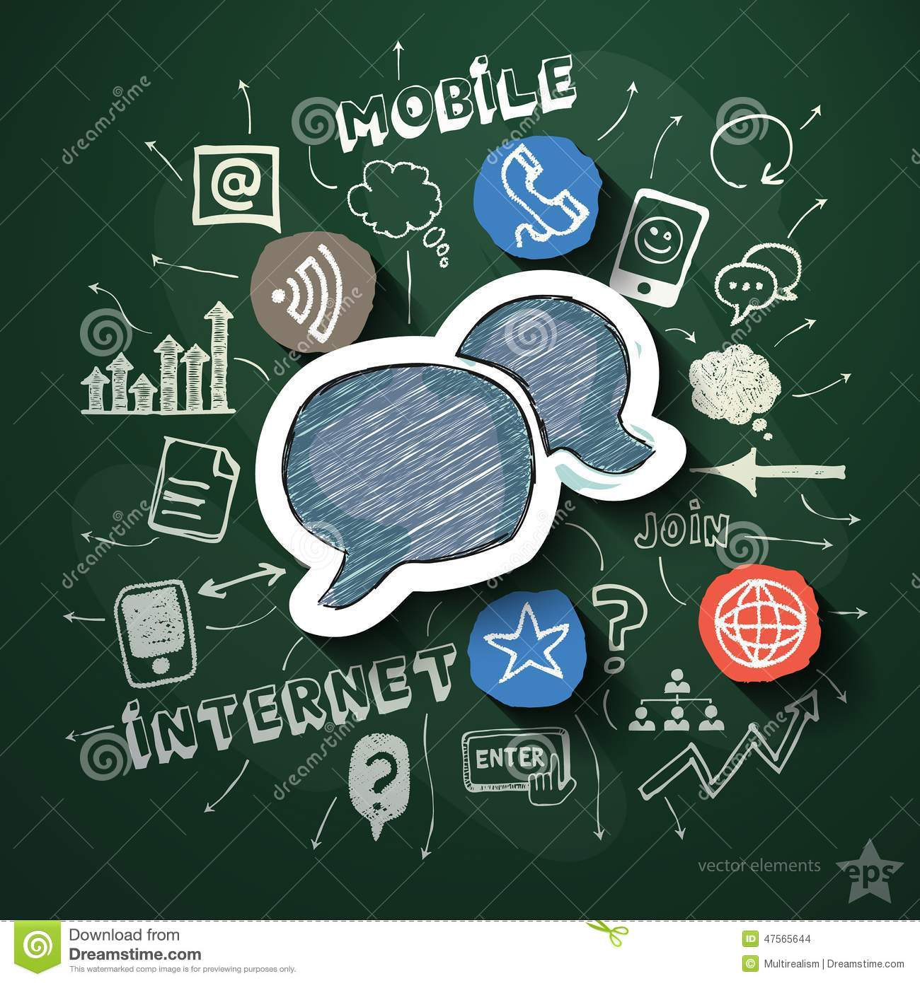 Mobile internet collage with icons on blackboard stock for Www homedesigns com