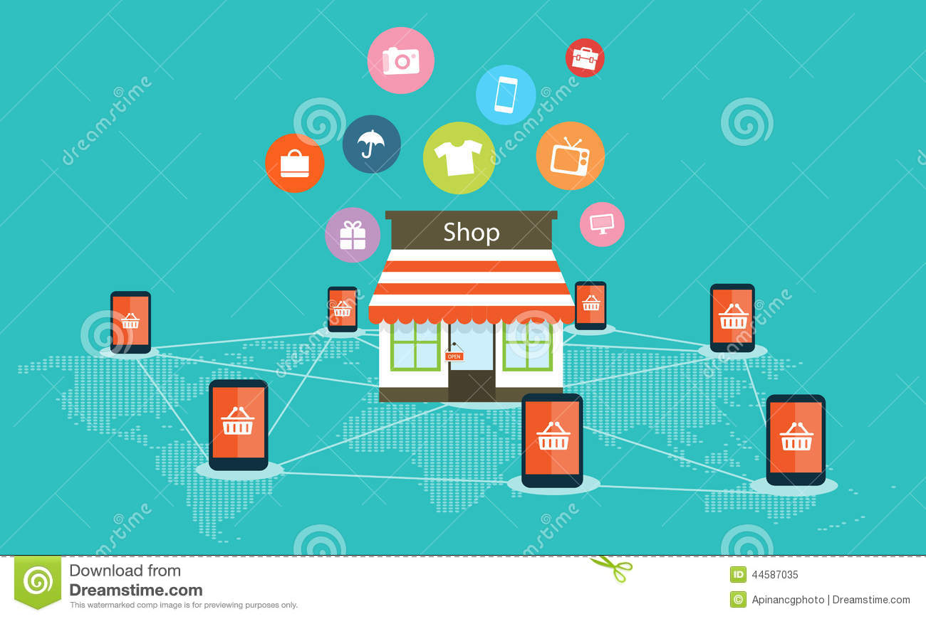 Mobile internet shopping on line vector background stock for Onlineshop fur mobel
