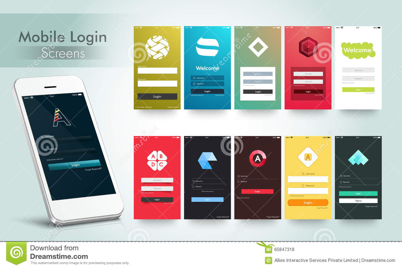 Mobile Login Screens Ui Kit With Smartphone Stock