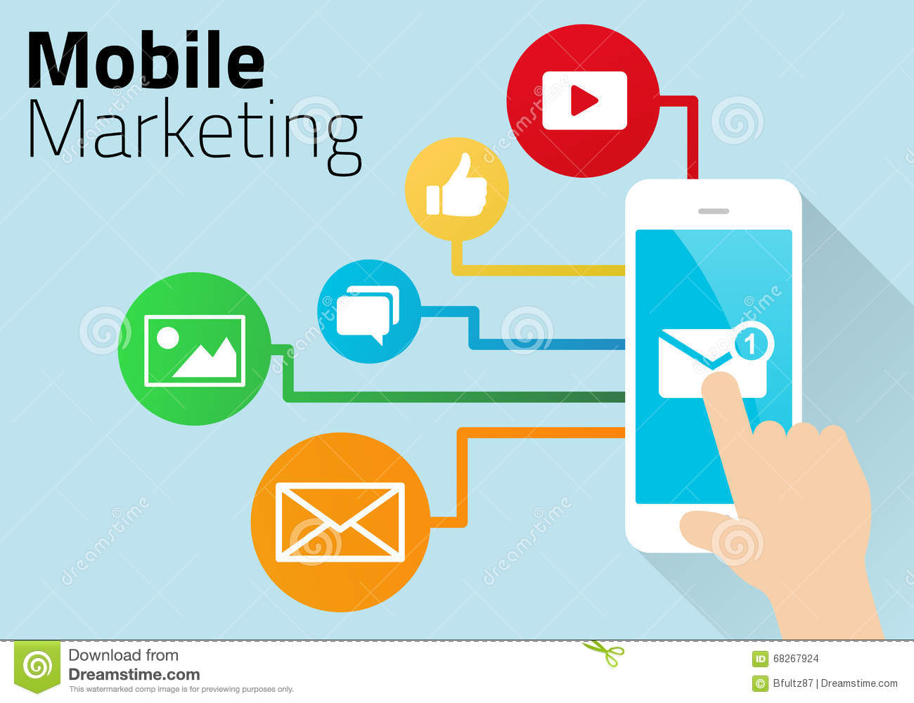 concept of mobile marketing diagrammed using smart phone and social media  icons with graphics on blue