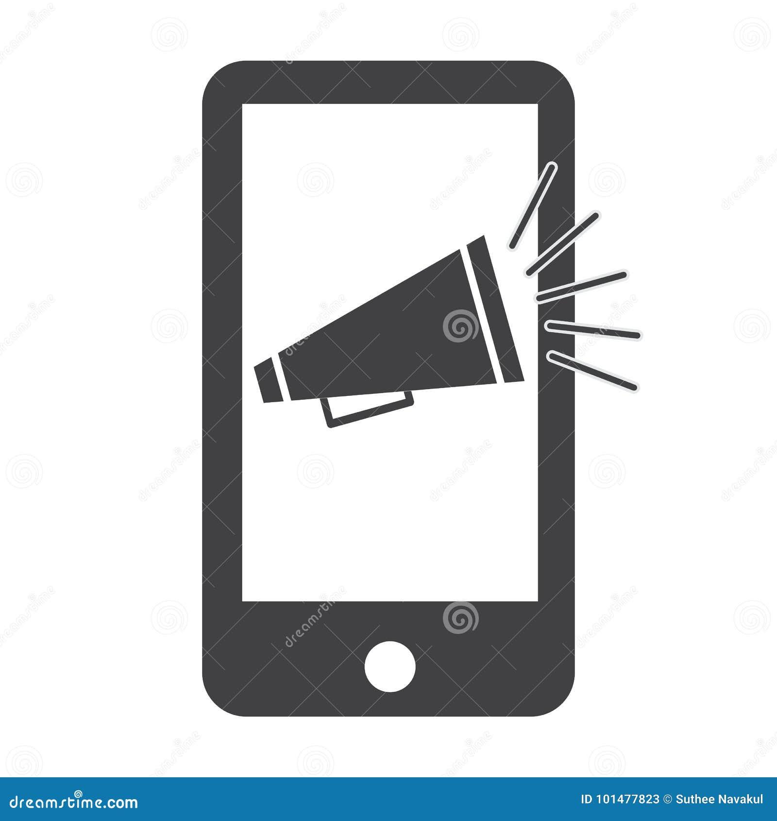 Mobile Marketing Icon On White Background. Stock ...