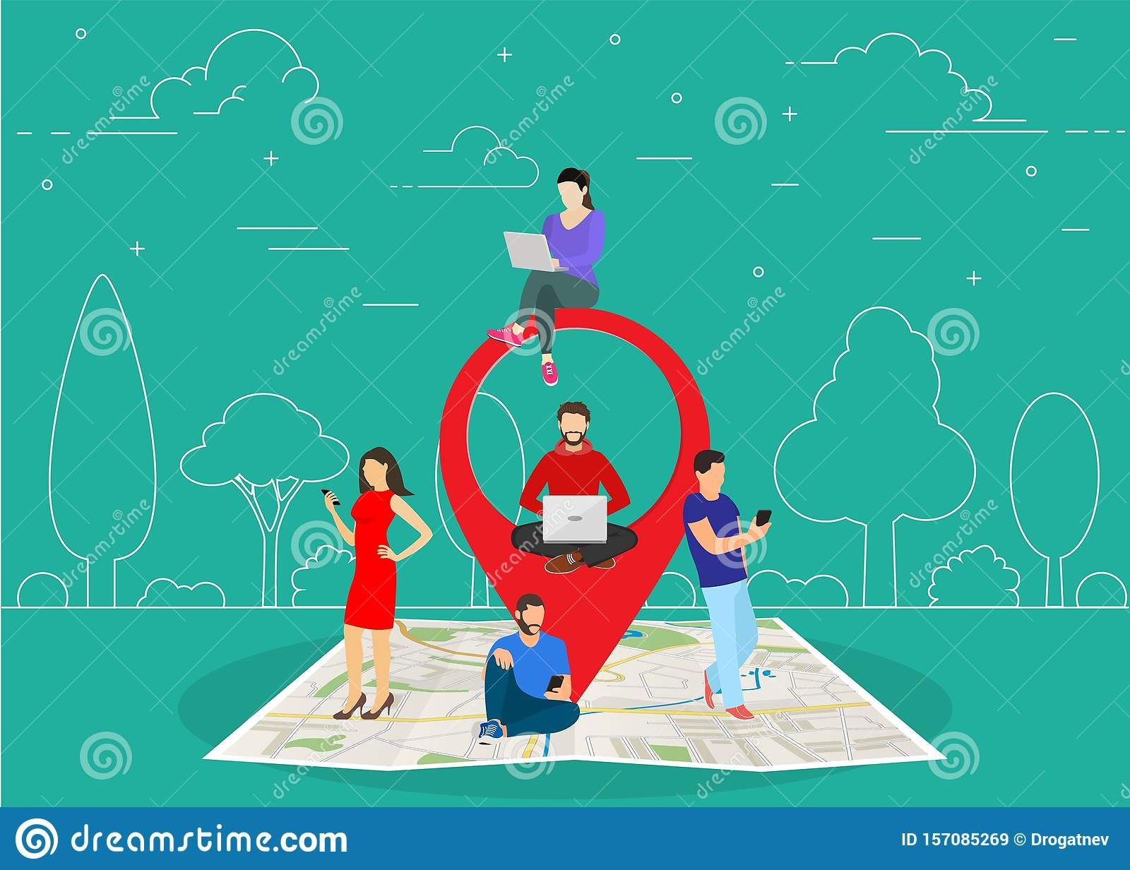 Mobile marketing with map tag concept