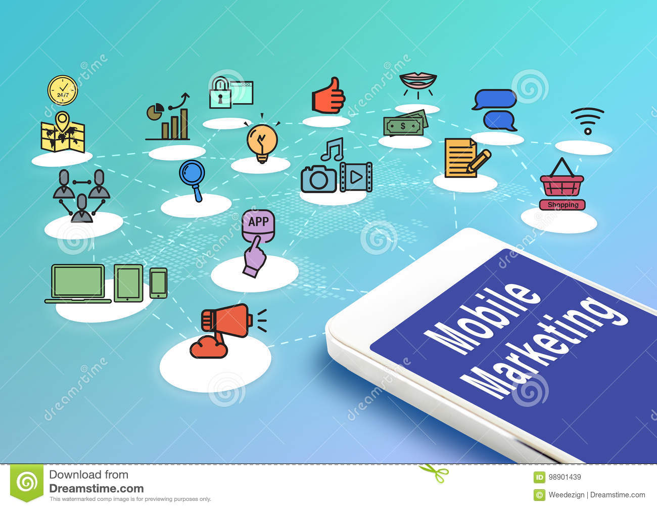 Mobile with mobile marketing and icons, Digital Marketing concept.