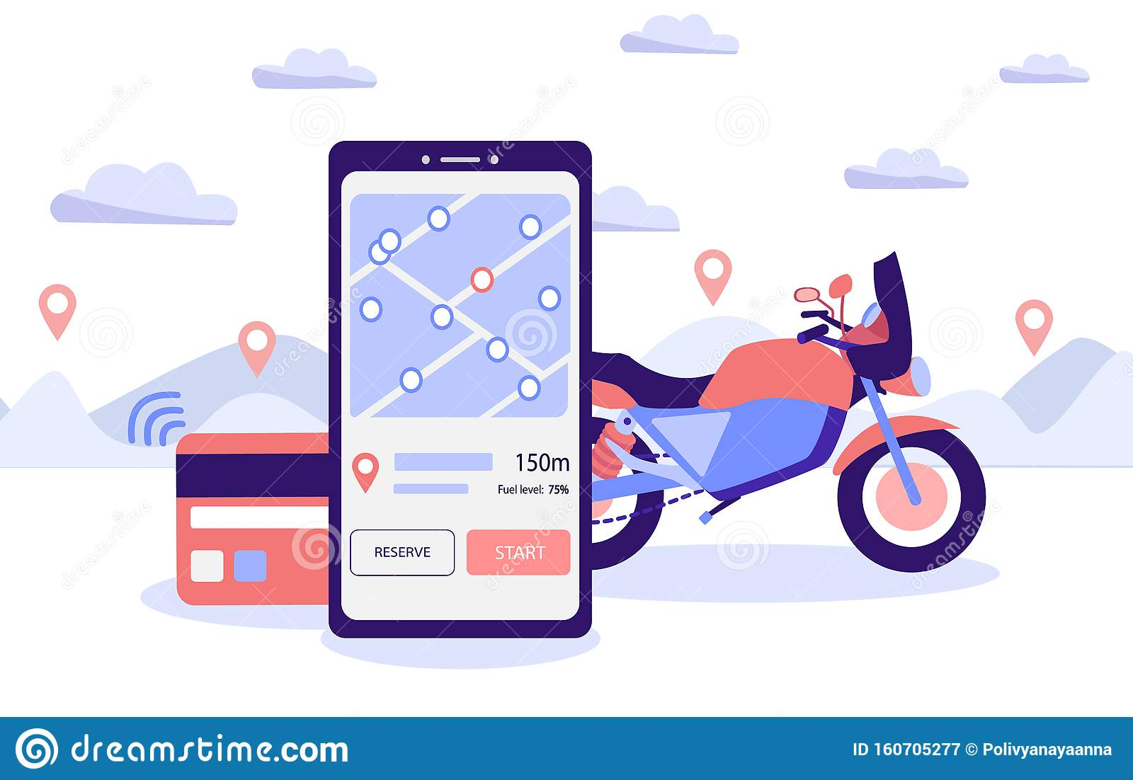 Mobile Motorcycle Rental Application Sports Bike Rental Carsharing Concept Motorbike With A Smartphone And Card With Contactless Stock Illustration Illustration Of Motorcycle Payment 160705277