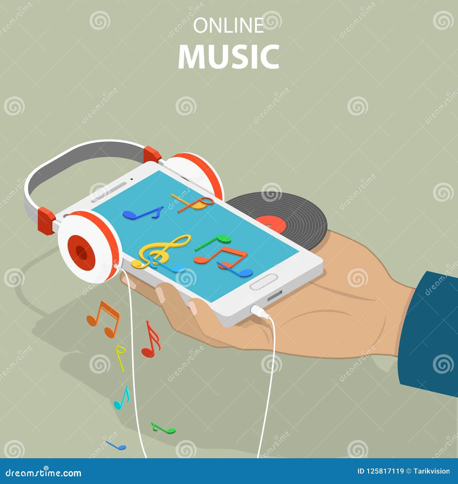 Mobile Music Isometric Flat Vector Conceptual Illustration
