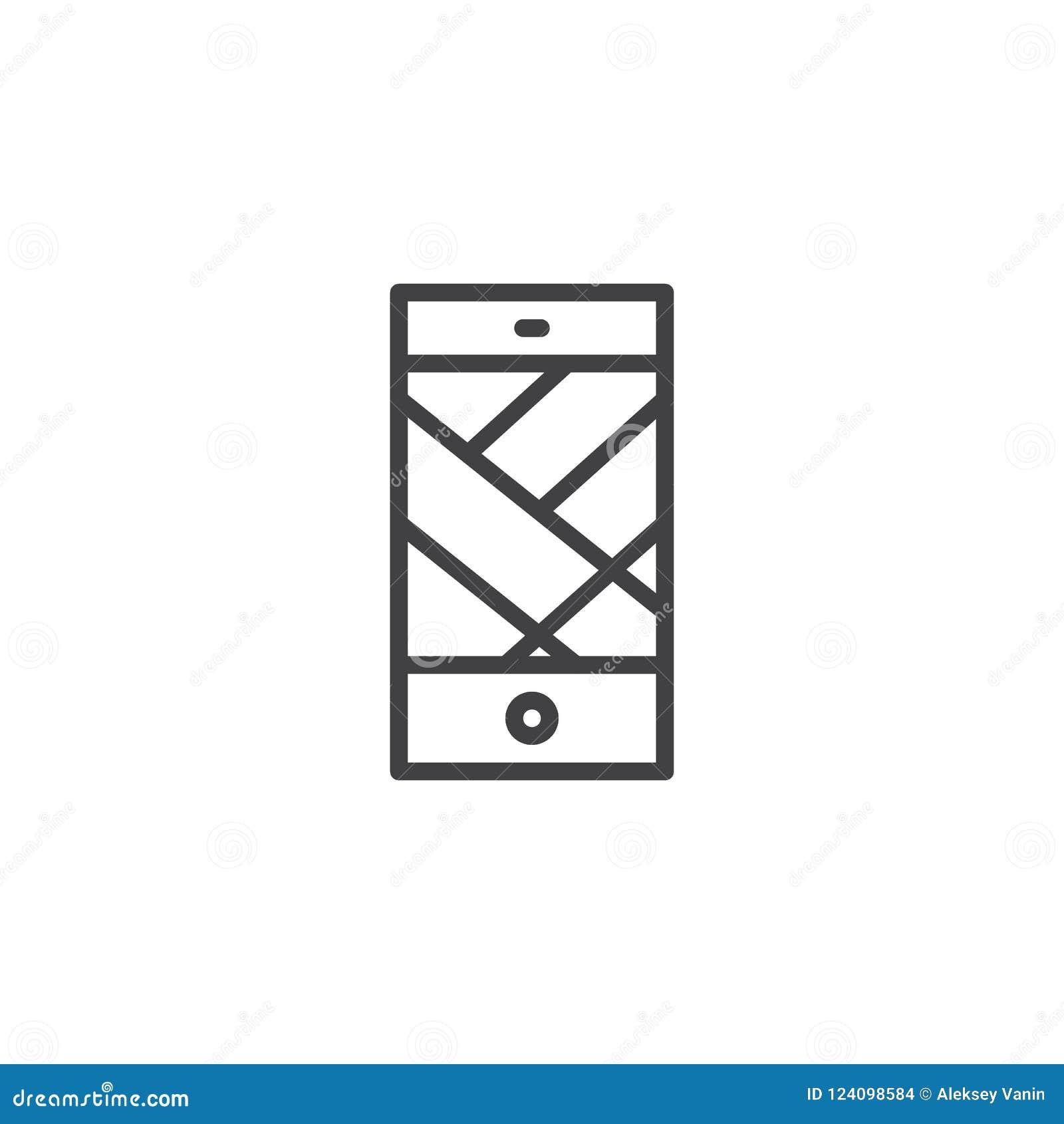 Mobile Navigation App Outline Icon Stock Vector - Illustration of