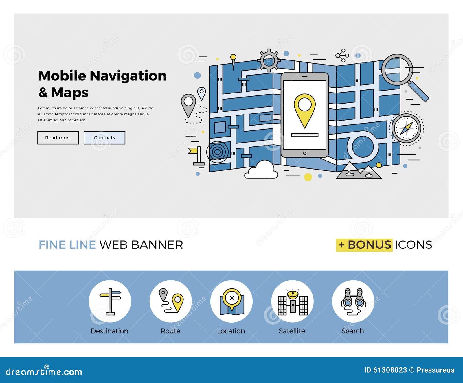 Map Design Website Template: Mobile Navigation Flat Line Banner Stock Vector