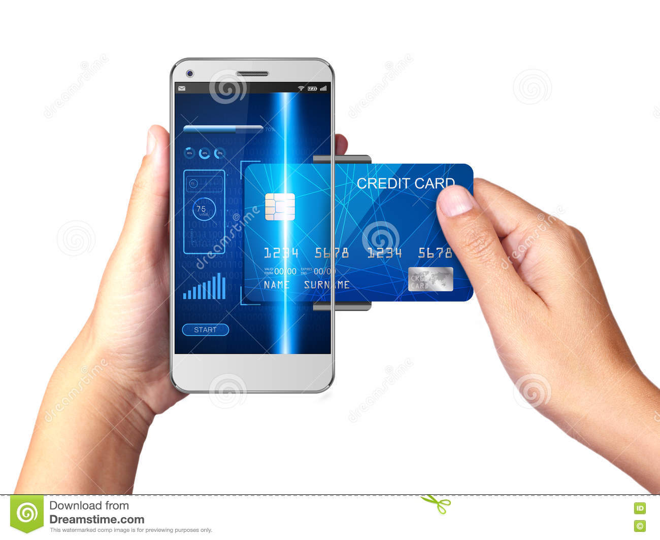 Mobile Payment Concept Hand Holding Smartphone With