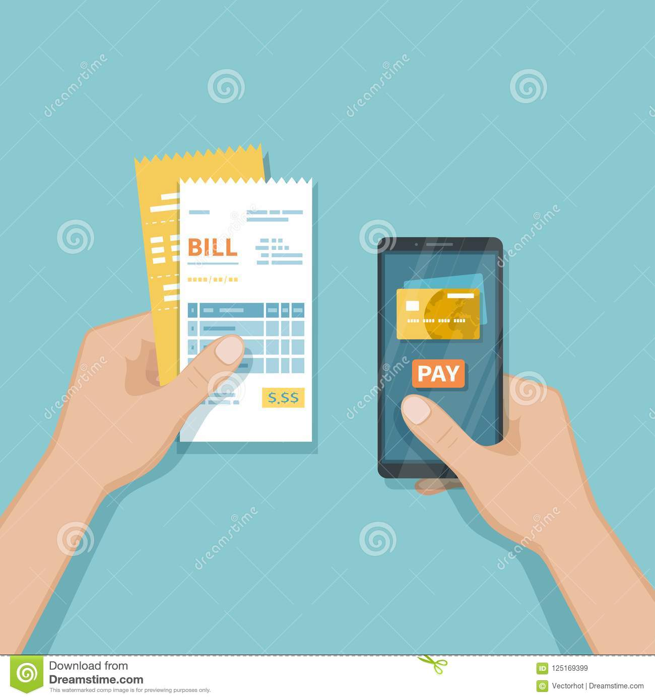Mobile Payment for goods, services, shopping using smartphone. Online banking, pay with phone. Credit card on screen, button pay