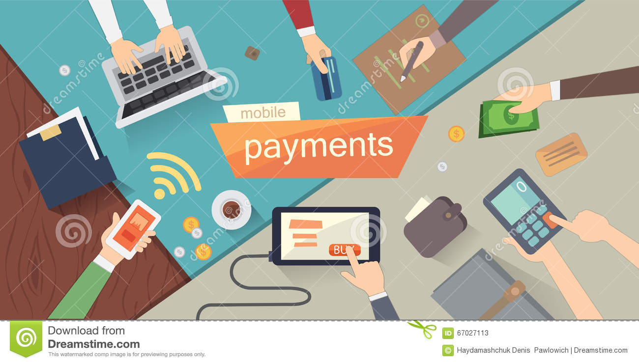Mobile Payments Vector Illustration Mobile Banking Or