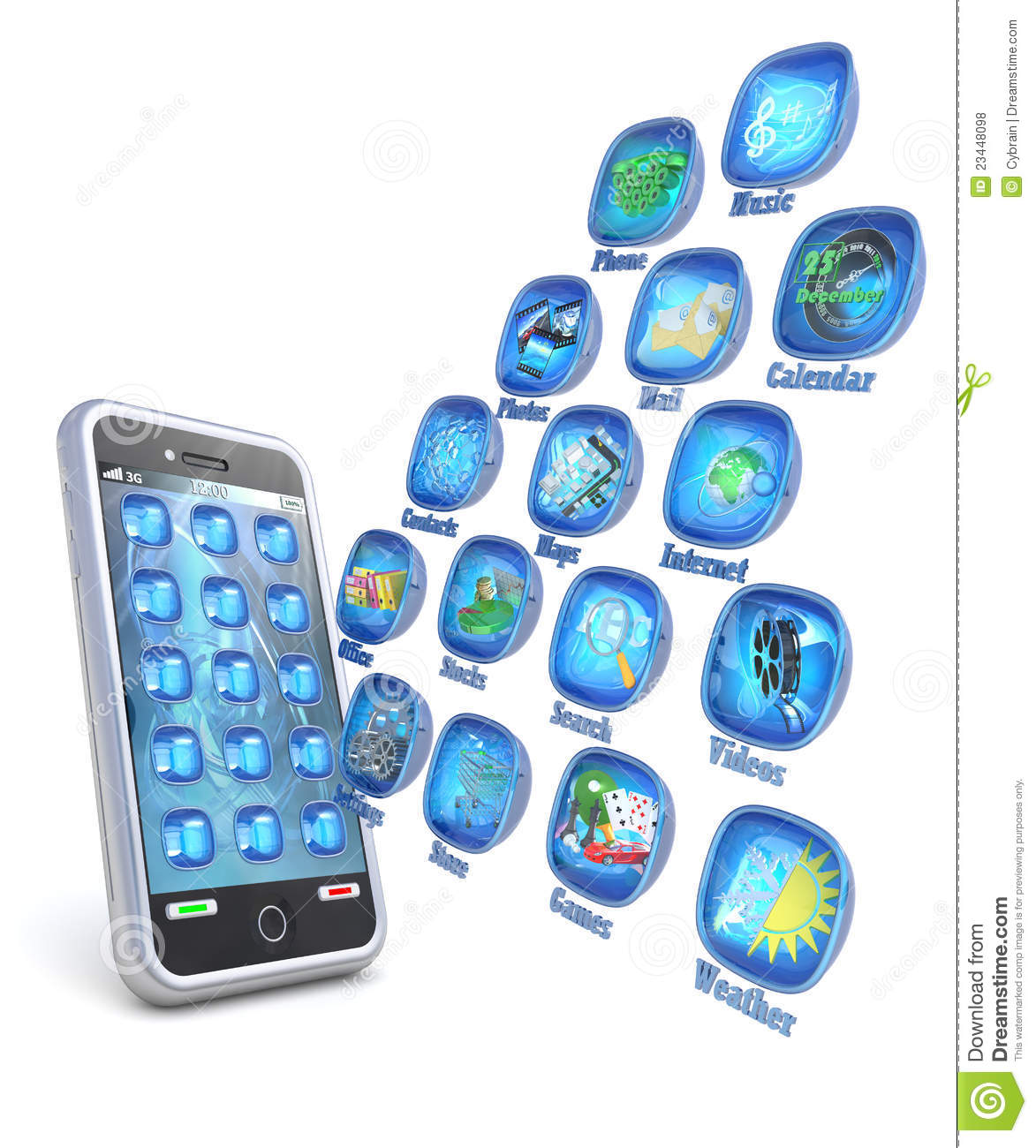 Mobile phone 3d applications on white background royalty 3d application