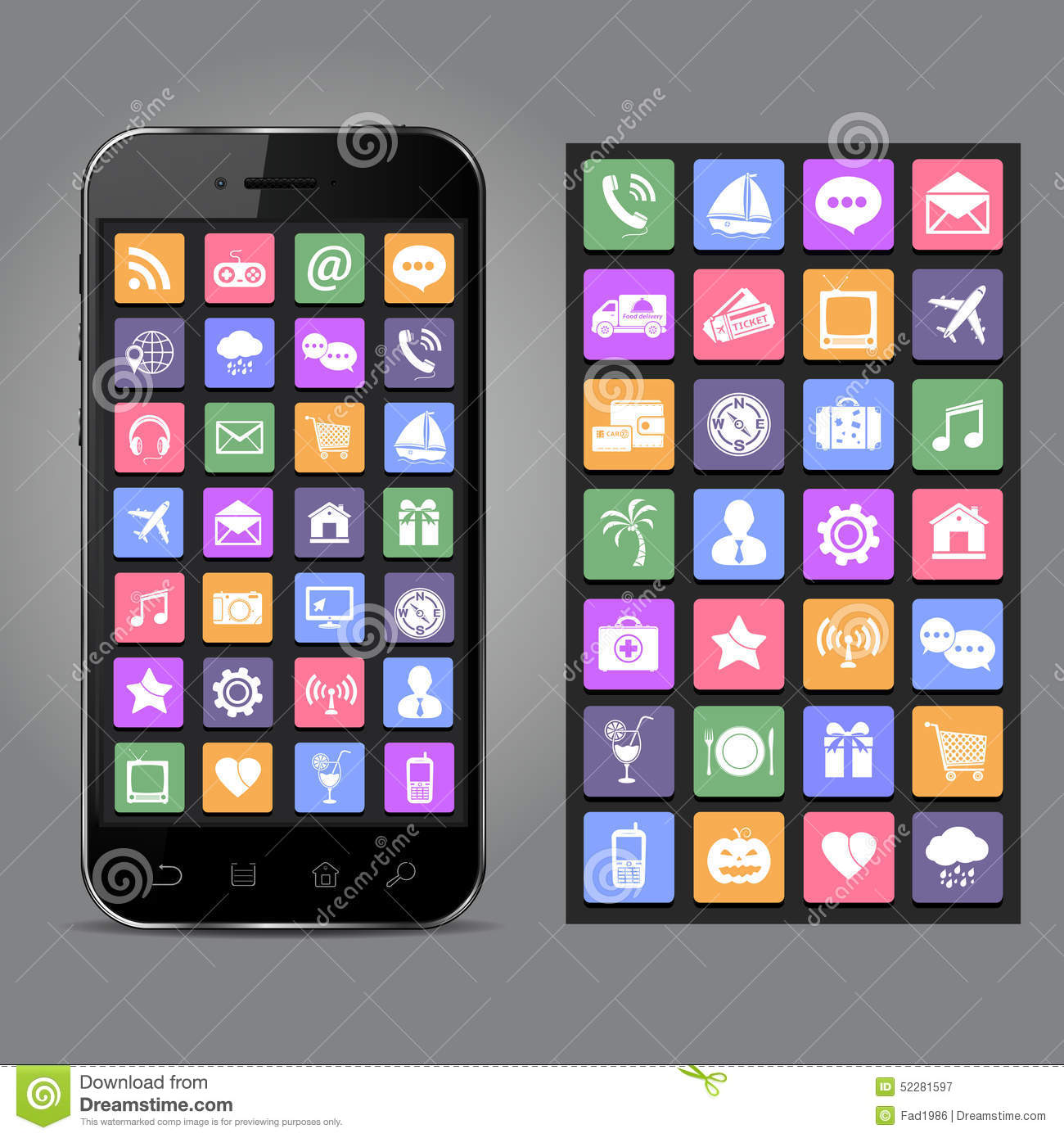 Mobile phone with application icons on screen.Apps & smartphone ...