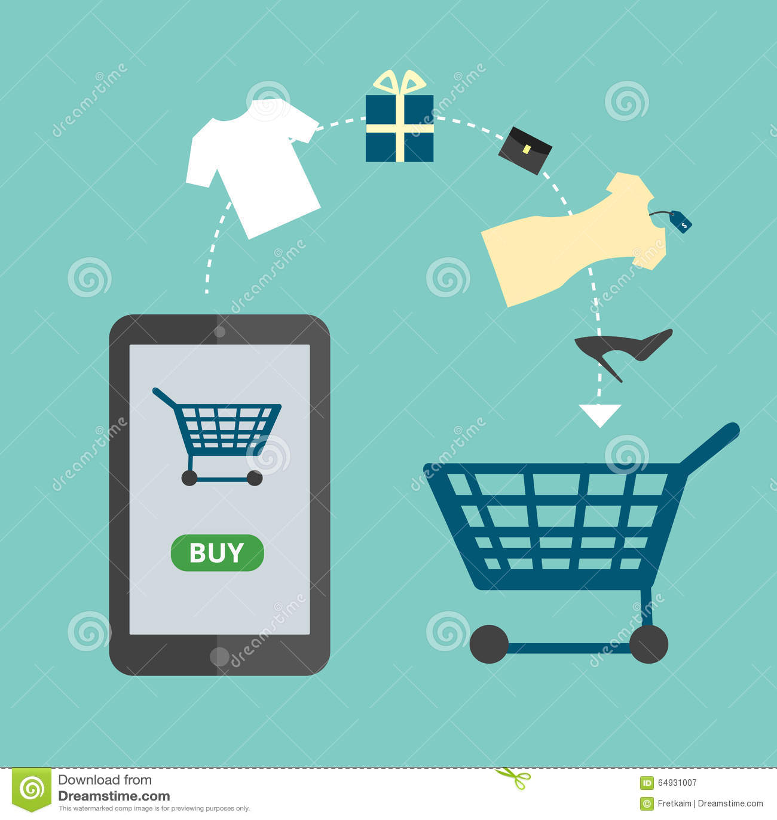 Mobile phone as online store online shopping vector for Design scandinavo shop online